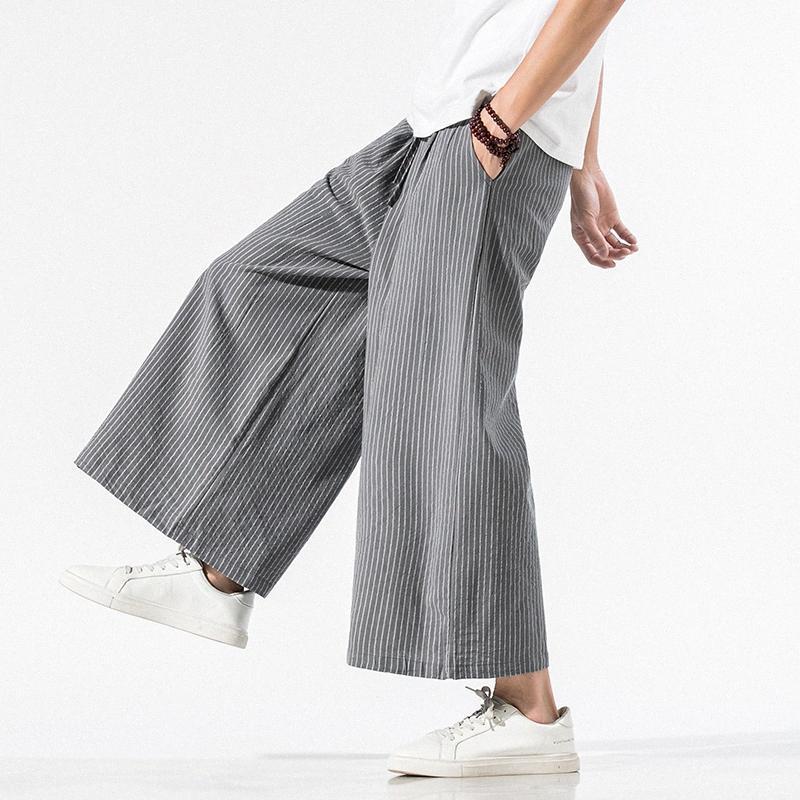 Streetwear Black White Striped Men Harem Pants 2020 New Fashion Man Casual Loose Pants Cotton Linen Casual Male Trousers DOln#