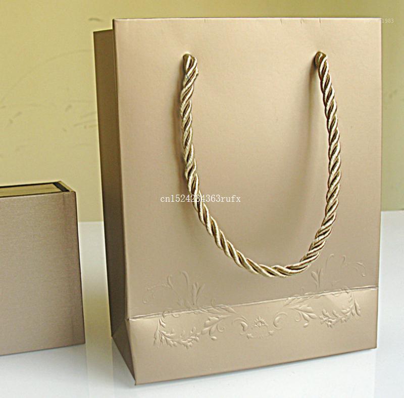 100 шт. Ювелирные Сумки Маленький бумажный пакет 14 * 7 * 18 см Браслет кольца Серьез коробка подарочная упаковка Bag1