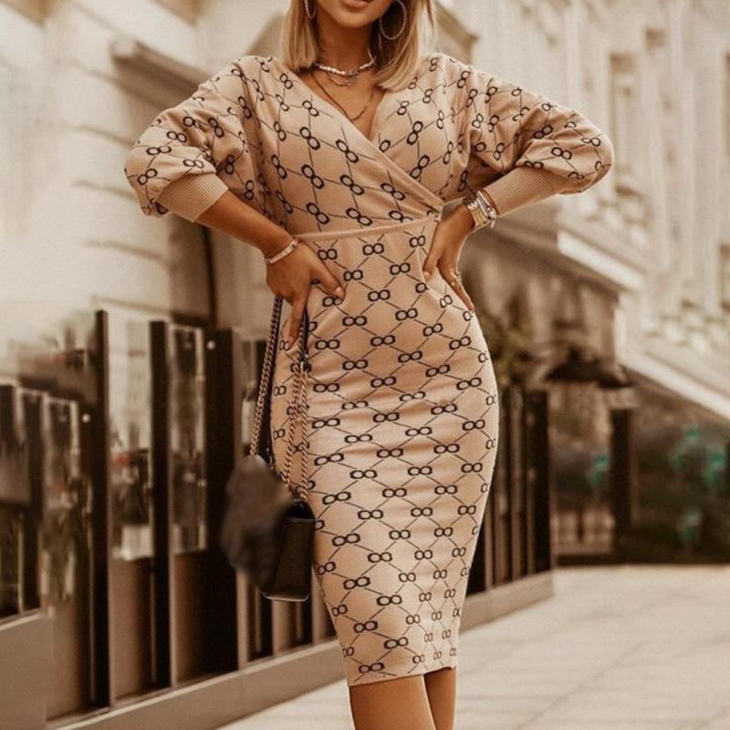 Женское платье V-образным вырезом напечатаны вязаные женские платья высокая талия с длинным рукавом Bodycon Sexy 2020 новая зимняя дама элегантные Vestidos LJ201203
