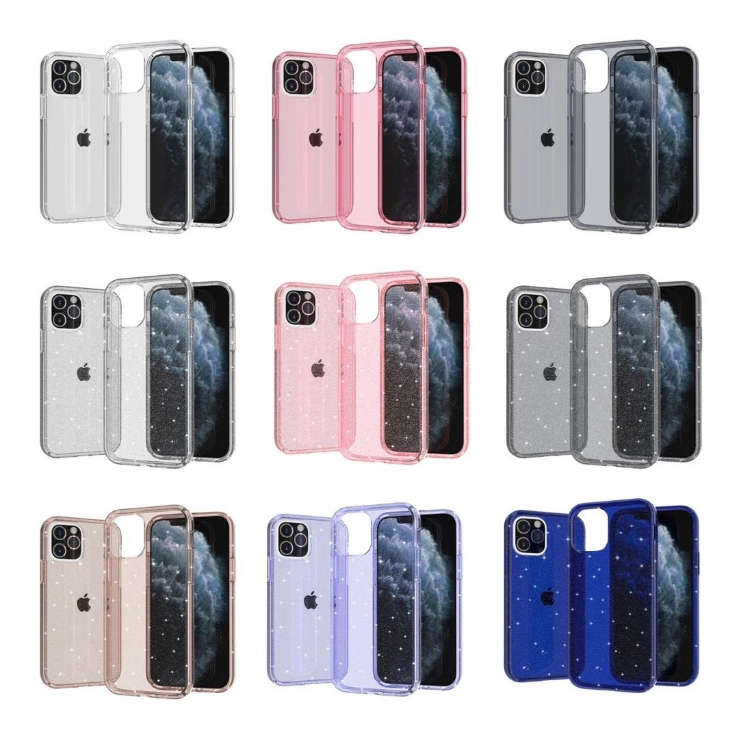 Clear Bling Glitter hard phone case for iphone 11 pro max 678 plus xr xs max samsung galaxy s10 plus for iphone 12 12 pro max