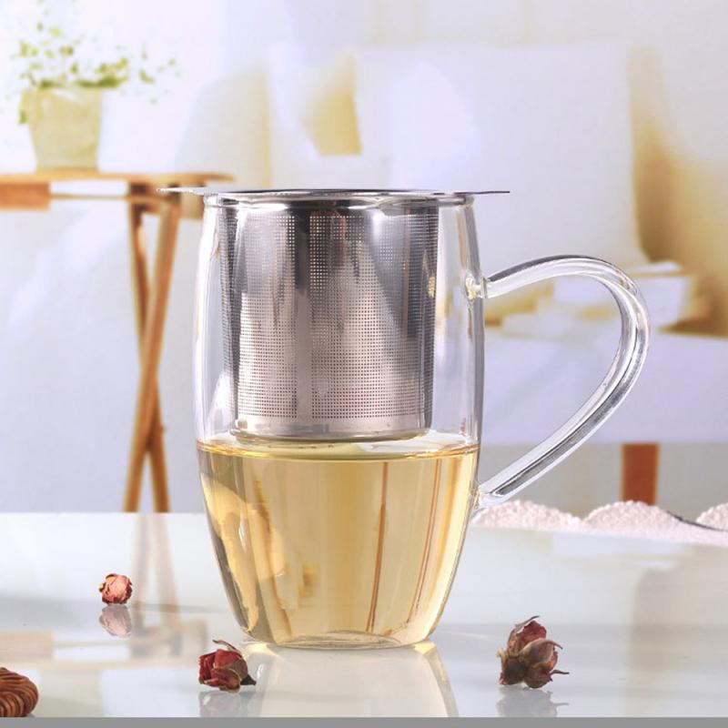 Mesh-Tee-Wiederverwendbare Teesieb Doppel Ohr Edelstahl Teekanne lose Teeblatt Spice Filter Einzelteile für Haushaltsbüro
