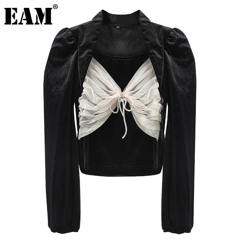Женские блузки Рубашки [EAM] Женщины сетчатые лук бархатные сплещенные блузки квадратный воротник слоеного рукава свободная подходит рубашка мода прилив весна осень 202