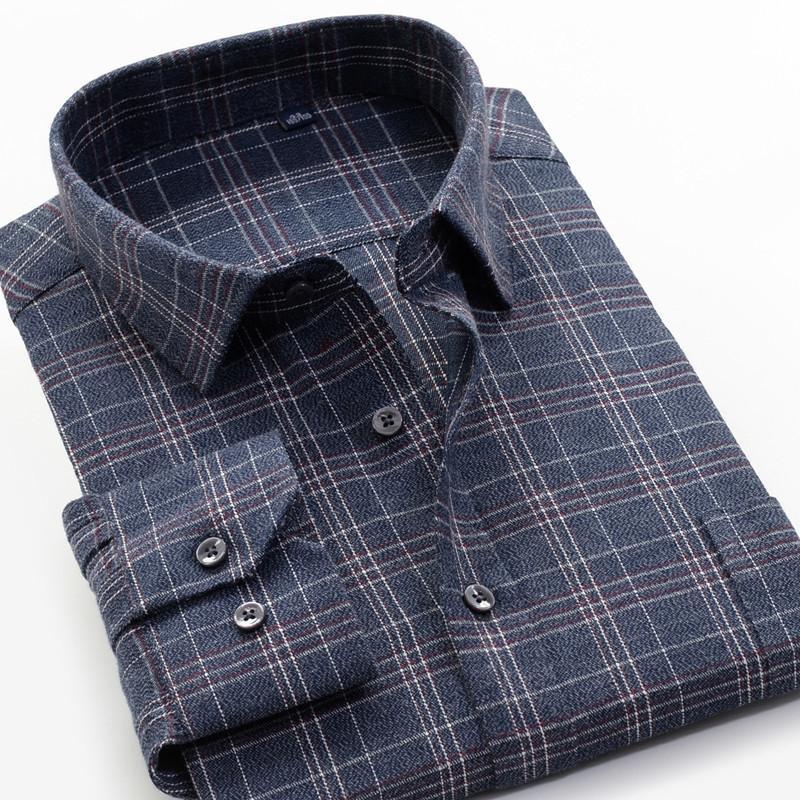 6XL 7XL 8XL 9XL 10XL SHANBAO marchio autunno e inverno nuova camicia a maniche lunghe uomini casual spessa moda giovanile in cotone a quadri 201007