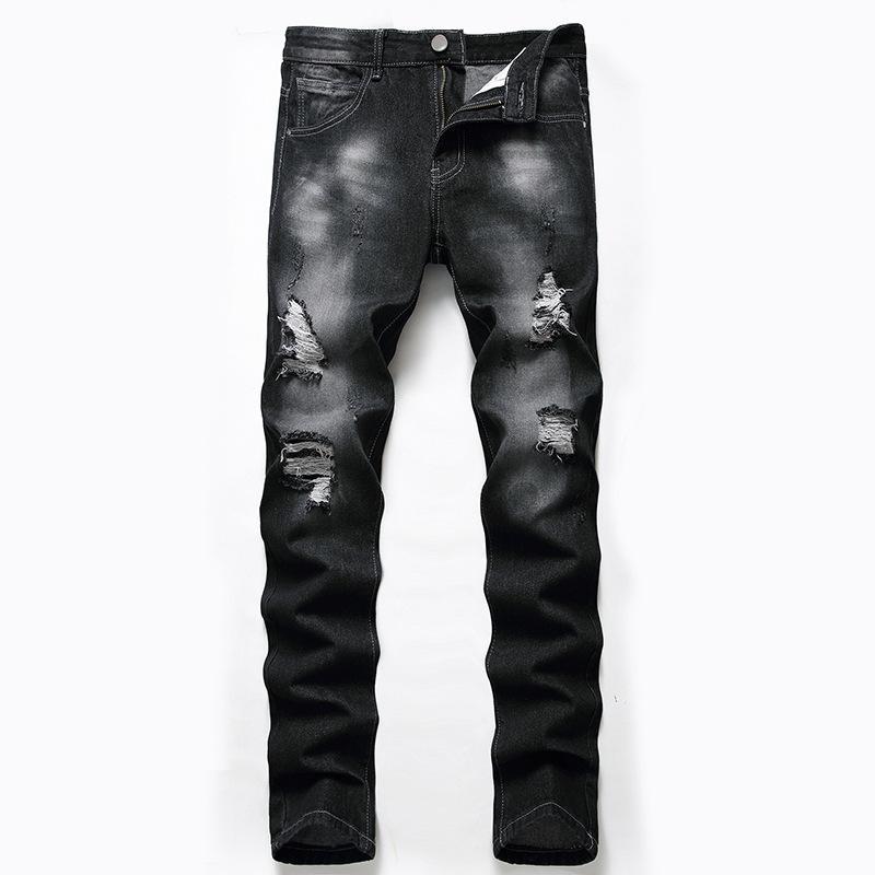 Männer Designer Jeans Black Boutique Übergroße Hose mit Löchern Mode Reißverschluss Essentials Hosen passende Baumwolle gerade