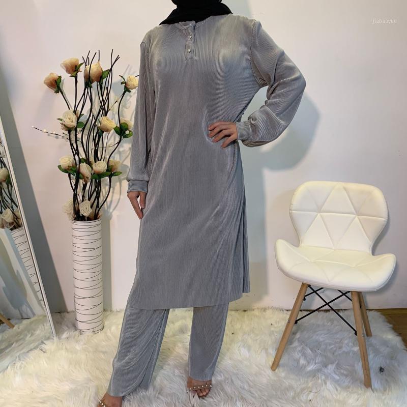 Pileli 2 Parça Eşleştirme Seti Kıyafet Kadın Müslüman Eid Mütevazı Uzun Kollu Üstleri Gömlek Tunik Uzun Geniş Bacak Pantolon Set Katı Renk1
