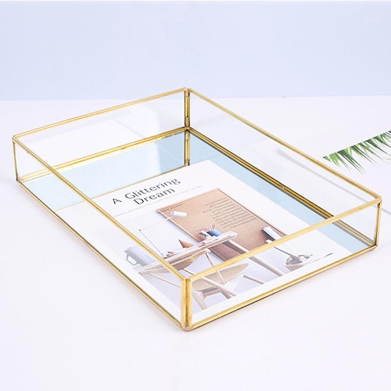 Nuevo nuevo almacenamiento nórdico bandeja de oro rectángulo de vidrio Organizador de maquillaje acrílico Placa de la vendimia para la exhibición de la joyería del postre Decoración del hogar1