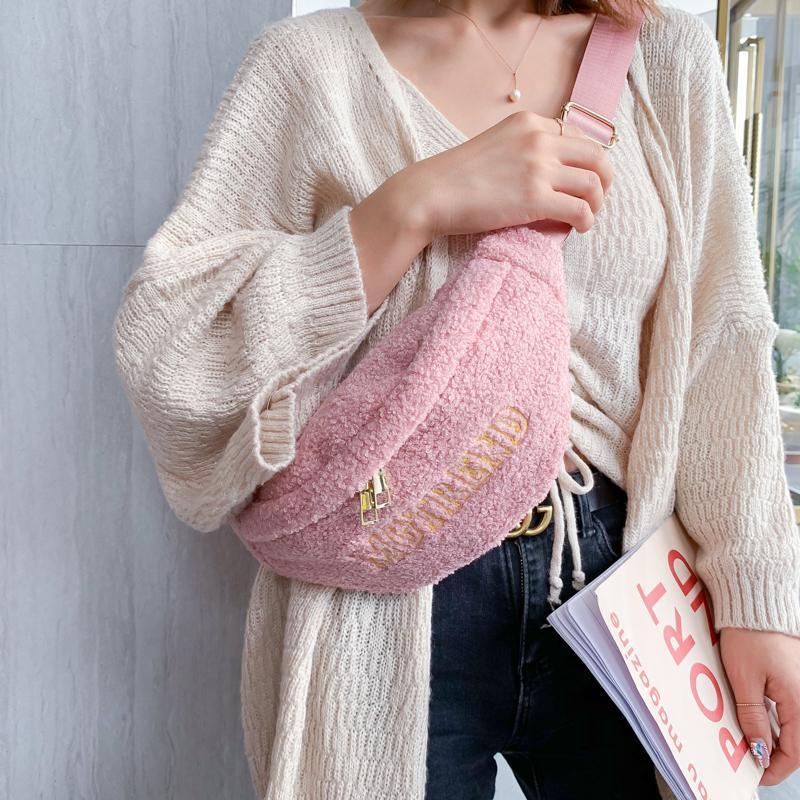 Fanny Casual para las mujeres Bolsa de piel de invierno Cintura 2020 Cálidas Cosques Crossbody Bolsos de piel Paquete de pecho Faux Ladies Pecho Bolsas Bolsas Band Pack WXVVC