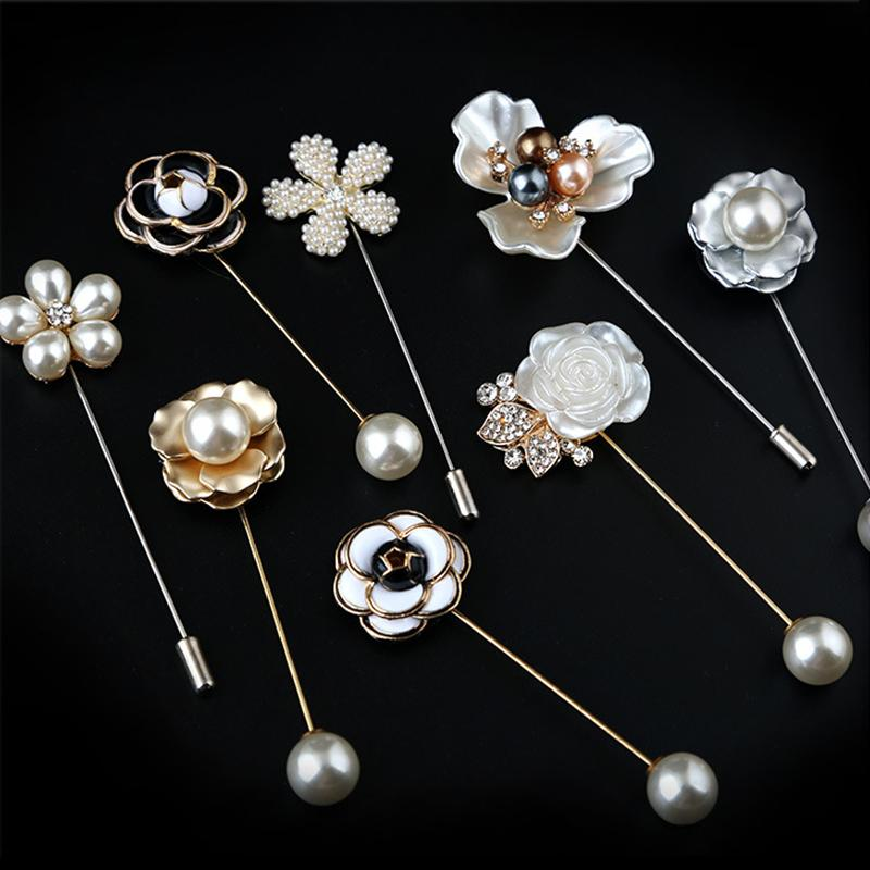 Fashion New Sweater Brooch Rose Flower Corsage Camellia Long Needle Pin For Women Shawl Shirt Collar Accessories