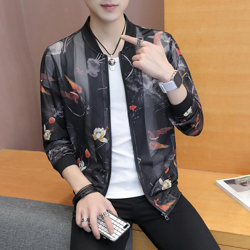 Spring Autumn Slim Fit Flowers Pilot Bomber Men Stand Collar top Coats Hip Hop Jacket dropshipping younger fashion Male Clothing