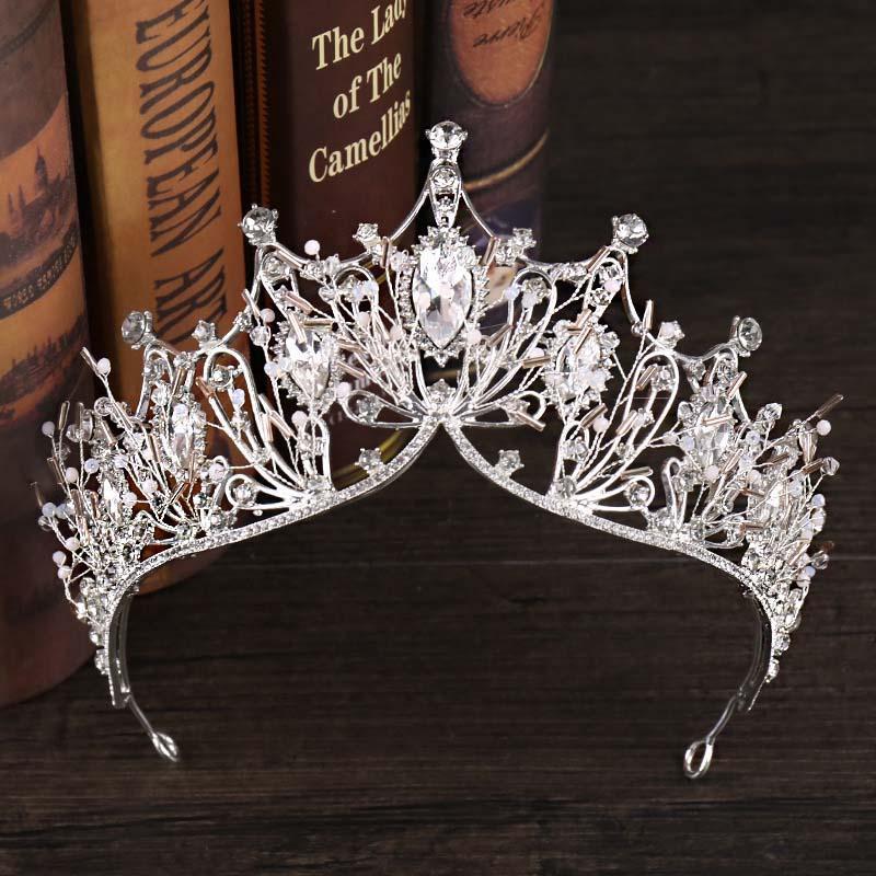 Barroco Rhinestone Crystal Haveded Headband Bride Crown Tiara Luxury Noiva Diadem Boda Hacer Pelo Joyería Adornos SL