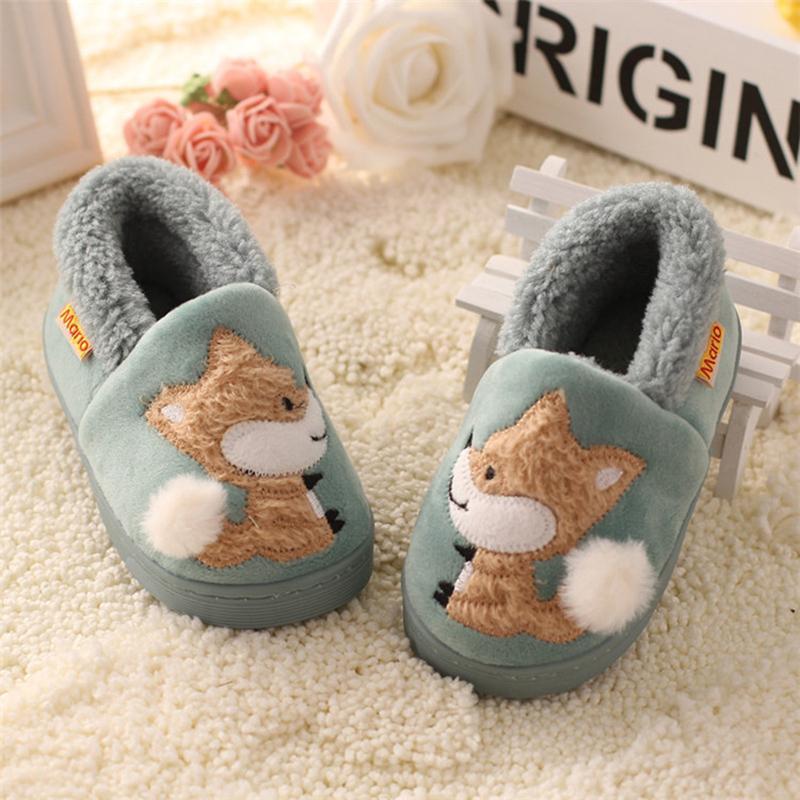 Kinder Jungen Mädchen Hausschuhe Cartoon Fox Girls Home Schuhe für Kinder Winter-Jungen Indoor Pantoffeln Warm Velvet Baby-Boots 201105