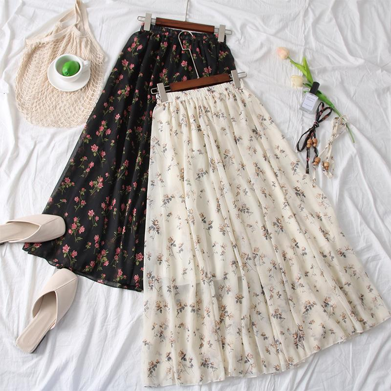2019 nueva falda femenina de verano falda de gasa pequeña aire fresco Falda floral