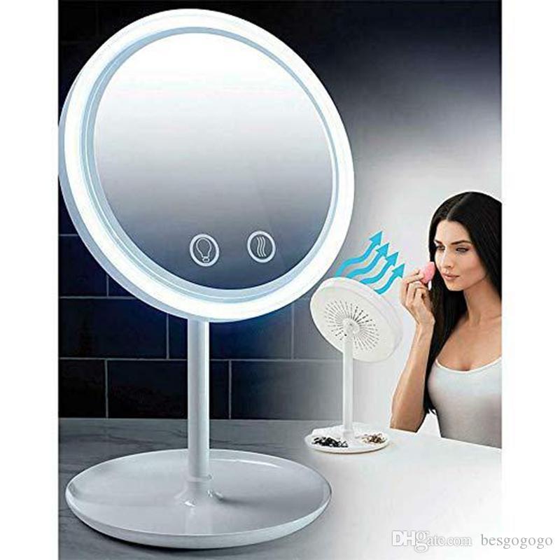 3 em 1 Lâmpada LED Maquiagem Espelho Com 5X Lupa Fan Beleza Breeze Cosmetic Espelho desktop manter a pele fresca Beleza LED Luz Espelho VT0418