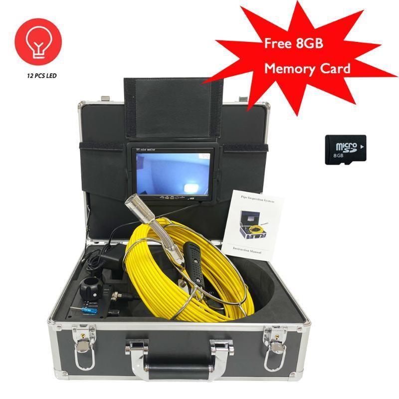 Kameralar 23mm Lens 20 M Kablo Borusu Endoskop Video Kamera Ücretsiz 8 GB TF Kart Kaydedici Kanalizasyon Drenaj Kanalı Endüstriyel Muayene
