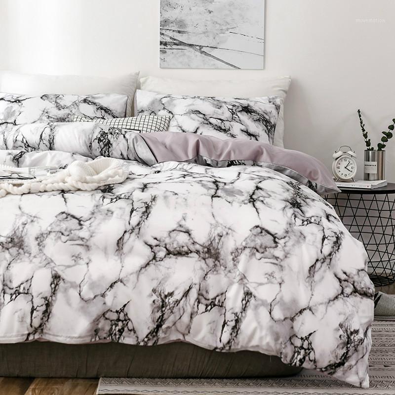 대리석 3D 패턴 디자이너 침대와 침대 세트 트윈 더블 퀸 퀼트 이불 커버 이불 침대 세트 럭셔리 침대
