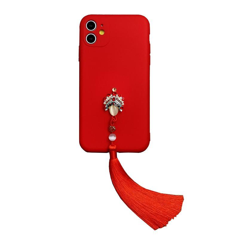 دائم حالة سيليكون ل iphone12 برو ماكس التقليدية الحمراء الغلاف الخلفي واقية