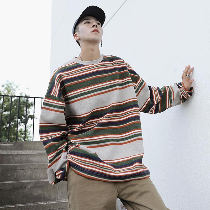 Erkek Hoodies Tişörtü Sonbahar Yün Erkekler Sıcak Moda Retro Kontrast Renk Rahat Kazak Adam Streetwear Gevşek Çizgili Kazak M-2X