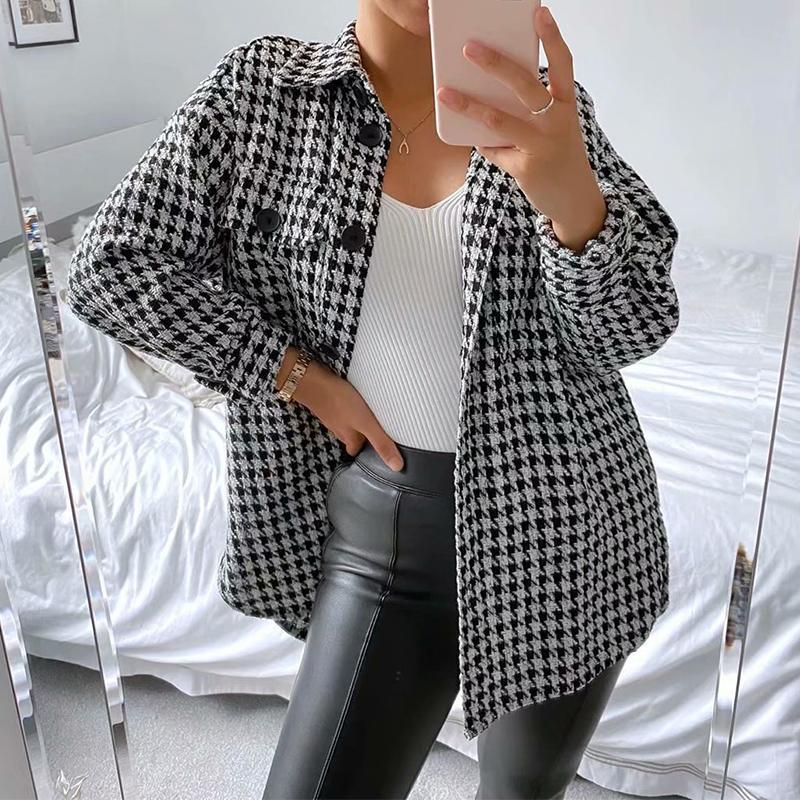 Autumn Plaid Long Sleeve Jackets Coat Women Casual Turn-down Collar Single-Breasted Coat Female Loose Ladies Office Outerwear