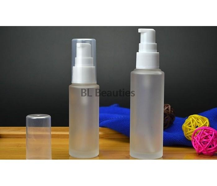 Beyaz Pompa Kozmetik ile 30ML 50ML Temizle Buzlu Mat Cam Losyonu Şişe Doldurulabilir Seyahat 100pcs boşaltın / lot