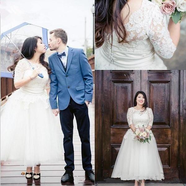 Ankle Length A Line Wedding Dresses Half Sleeves Lace Applique Buttons Back Summer Bridal Gowns Cheap Women Vestidos De Fiesta