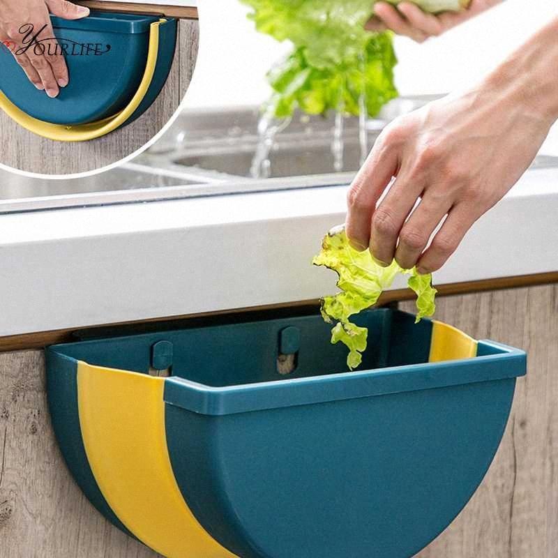 OYOURLIFE criativa Folding parede montada Trash Bin Reciclagem armário de cozinha a suspensão da porta Trash Can Titular casa de lixo D5ZF #