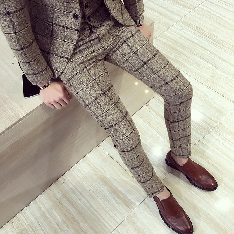 Outono inverno mens xadrez calças britânicas slim fit vestido calças homens plus size pantalon carreaux homme casual formais para homens1