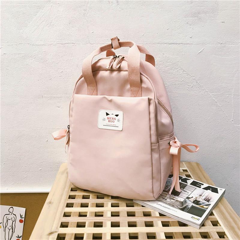 Casual Cute Backpack Women Small Pink Bow Backpacks for Teenager Girls School Bag Feminina Rucksack Mochilas Mujer 2019 Q1113