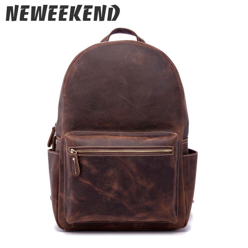 Ombro laptop negócio e escola saco masculino estilo vintage cavalo louco genuíno couro couro casual travel 9338