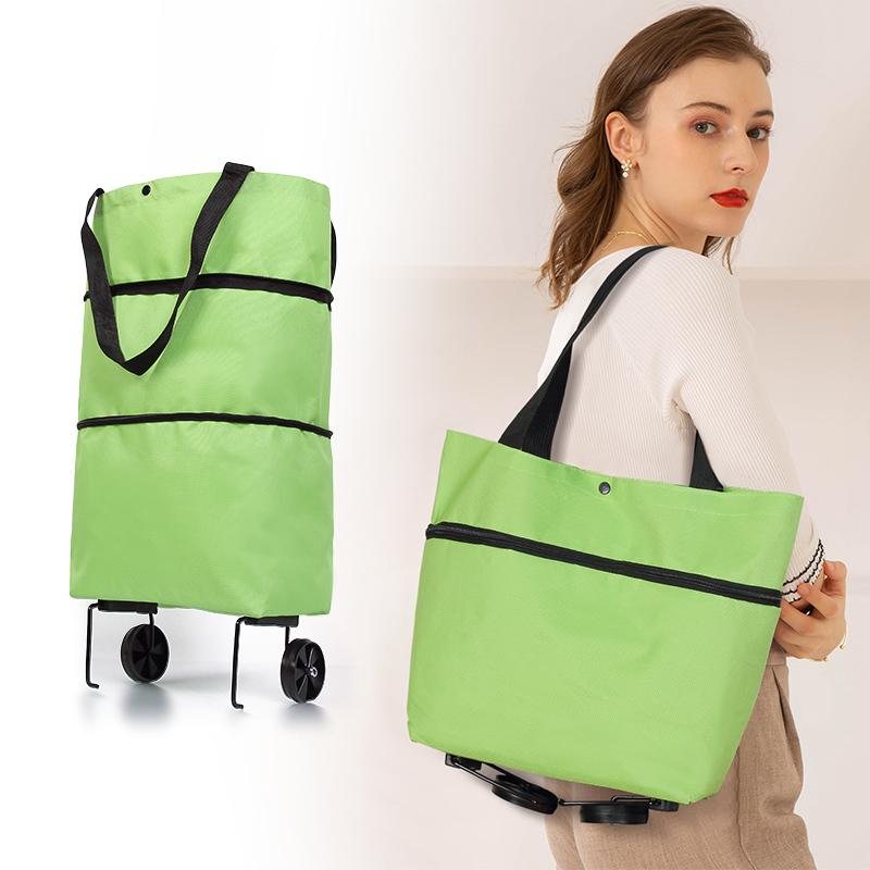 Folding Pull Cart Trolley With Wheels Foldable Shopping Reusable Grocery Bags Food Organizer Vegetables Bag Q1109