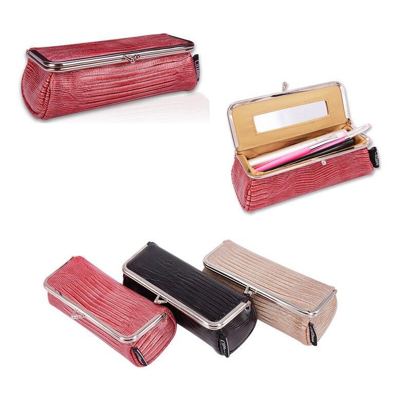 Frauen Mode Party Makeup Tasche mit Spiegel Kleiner kosmetischer Organizer Reise Make up Pen Lippenstift Pinsel Toolbox Beutel Aufbewahrungskoffer