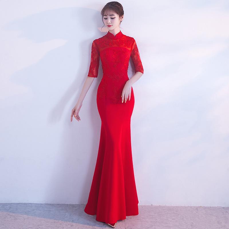 Demi-manche rouge élégante femme orientale mariée cheongsam chinois traditionnel mariée robe sirène robe mandarin col long Qipao