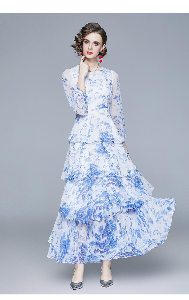 Vestido de Bolo das Mulheres Moda New Lady Chiffon Imprimindo Vestidos O-Nek Lantern Manga Comprida Vestido Formal 2021