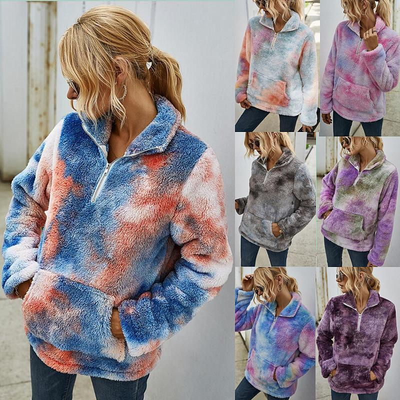 7 colores de invierno Ropa lazo seco Escudo Diseño gira el collar abajo con bolsillos de manga larga ocasional capa de la señora ropa exterior de la capa de terciopelo