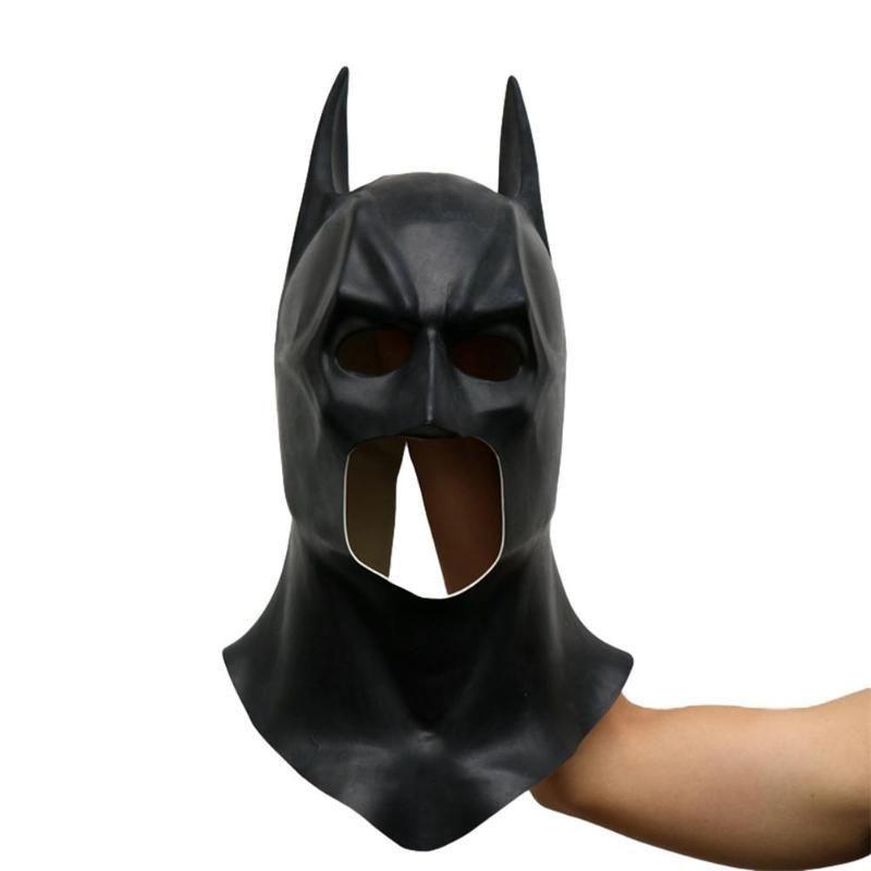 Batman Maskeleri Cadılar Bayramı Tam Yüz Lateks Batman Desen Gerçekçi Maske Kostüm Partisi Maskeler Cosplay Dikmeler Parti HWF2225 Malzemeleri