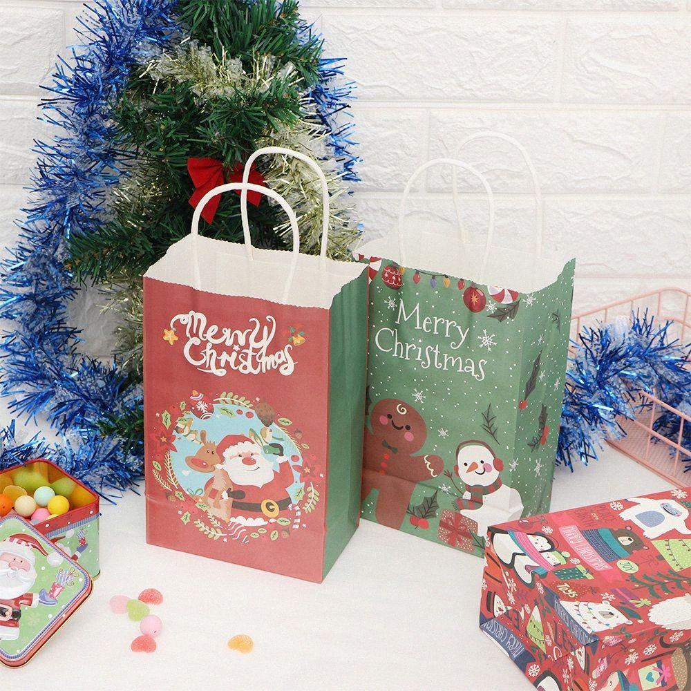 10 Ad 21 * 13 * Olay Parti 7gzL # için Kolları Parti Malzemeleri ile 8 cm Multifuntion Noel Kağıt Çanta Çanta Festivali Hediye Çanta