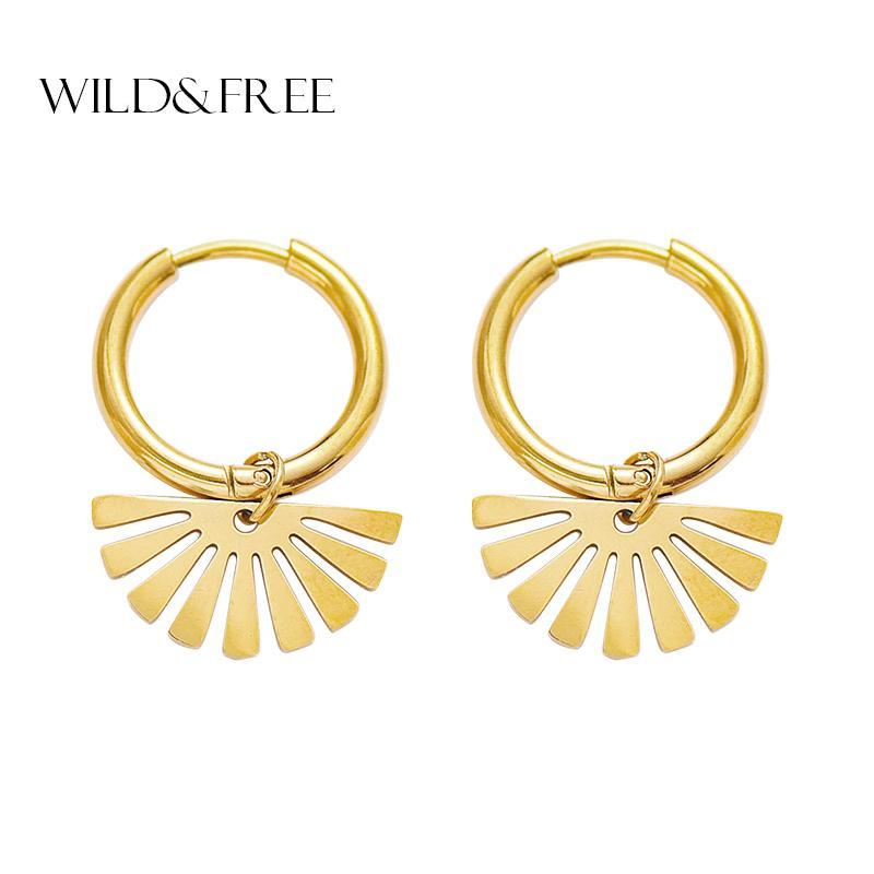 Wild&Free Fashion Stainless Steel Hoop Earrings Gold Color Hollow Out Sector Geometric Pendant Leaf Earrings For Women Jewelry