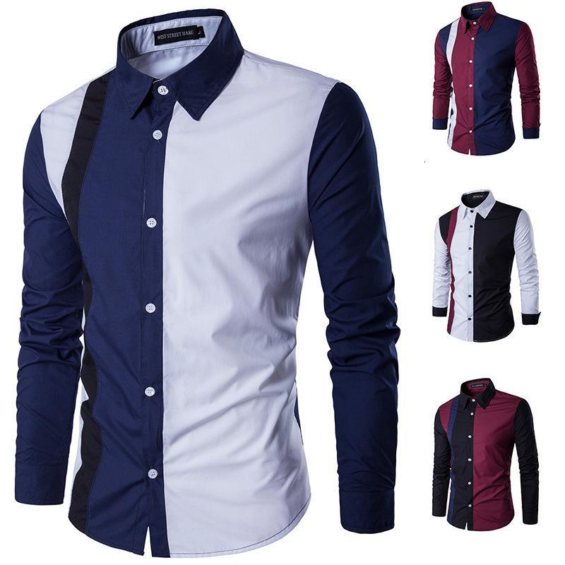2021 novos homens longos desligam-se camisa de colarinho de algodão empresarial escritório homens manga cheia homens esperto camisas xfff2