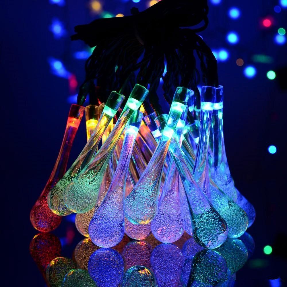 30 LED Crystal Ball Water Drop Solar Globe Fada 8 Efeito de Trabalho para jardim ao ar livre Natal Decoração do feriado Luzes HHB2387