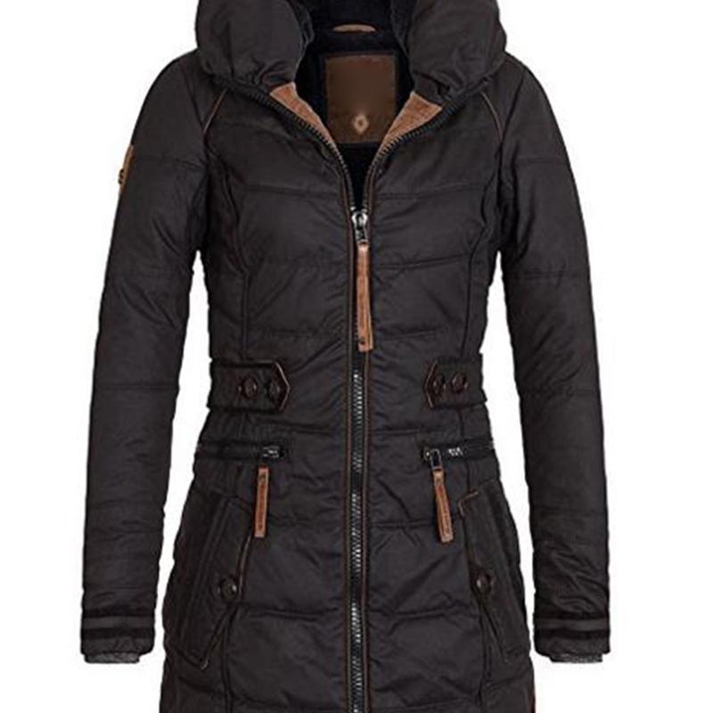 Зимняя куртка женщины Плюс Размер Женская ветровки сгущает Верхняя одежда твердый капюшоном пальто Короткие женщины Тонкий хлопок проложенный основные вершины 201013