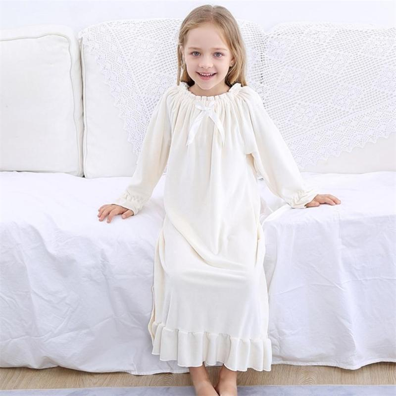 Primavera camisola infantil bebê meninas roupas ouro veludo crianças sleepwear vintage princesa casa desgaste manga longa pijama y338 y200325