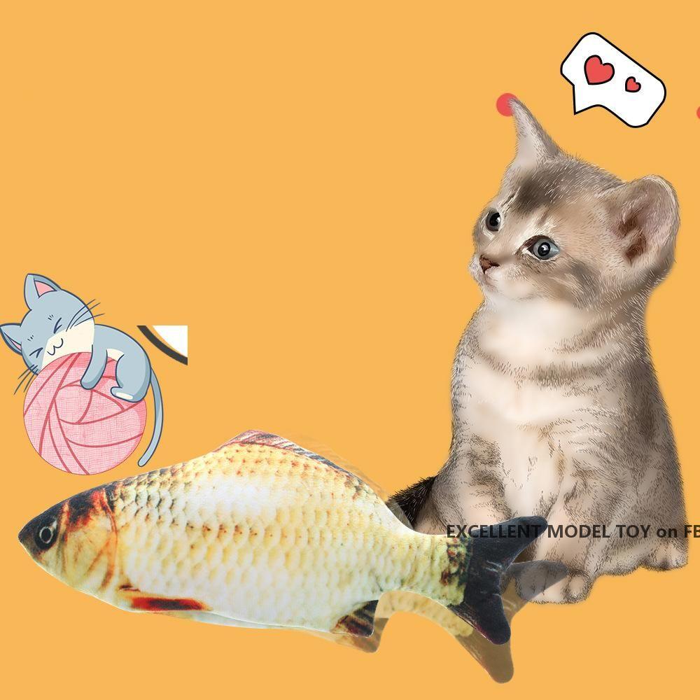 Elektrisches Hoch Simulierter Fisch Plüsch-Spielzeug, verschiedene Arten, Make Vibrieren ein Ton, Haustier-Katze-Spiele Spielzeug, Ornament für Weihnachten Kid Geburtstagsgeschenk, 4-1