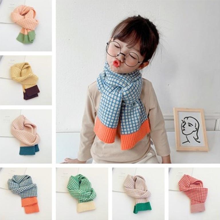 2021 Küçük Çek Kontrast Renkli Çocuk Yün Çocuk Sonbahar Kış Yeni Stil Erkek ve Kız Bebek Sıcak Eşarp