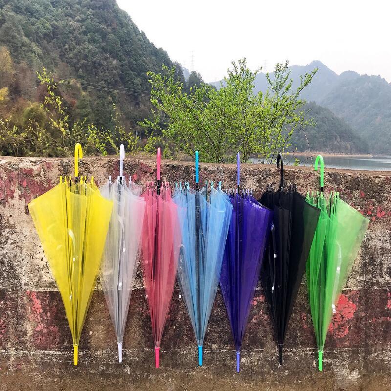 Transparenter freier Regenschirm-Tanz-Performance Stiel Regenschirme Bunte Strand-Regenschirm für Männer Frauen Kinder Regenschirme 300pcs LX3899