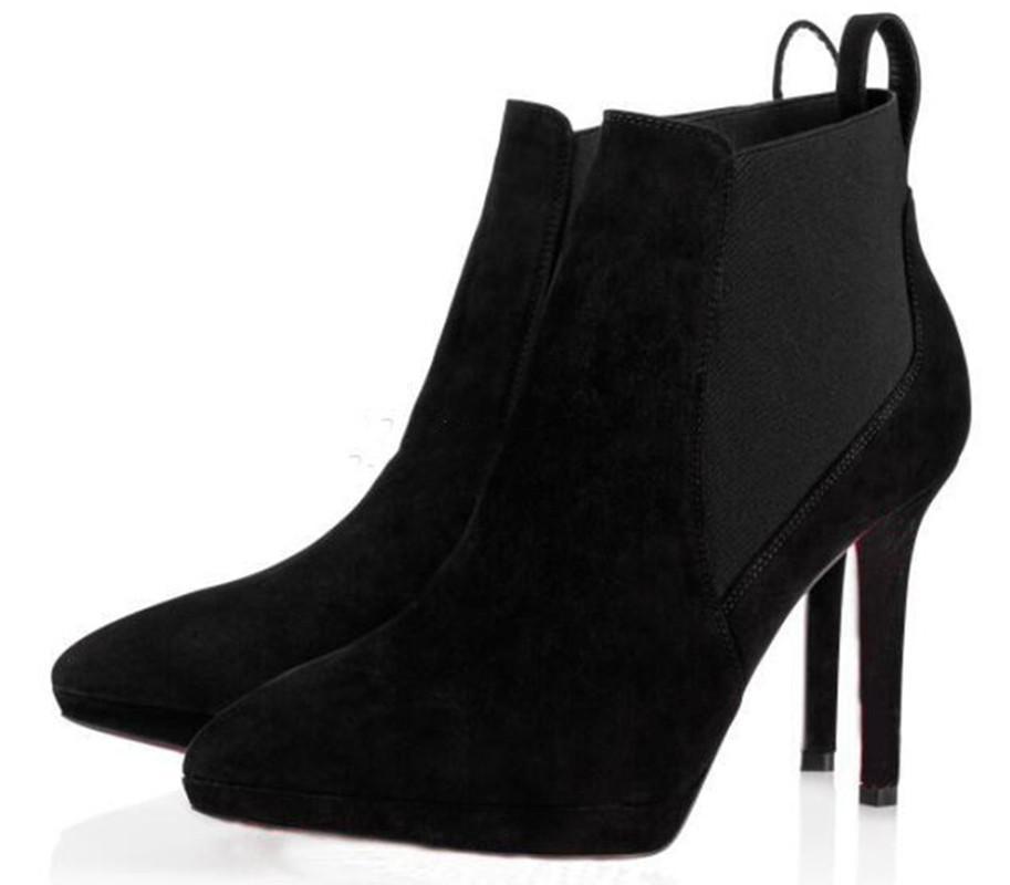 Black Suede en cuir véritable Femmes Rouge Bas Bottes Bottines pour les femmes Talons robe de soirée rouge Soles Talons Designer Shoes de luxe