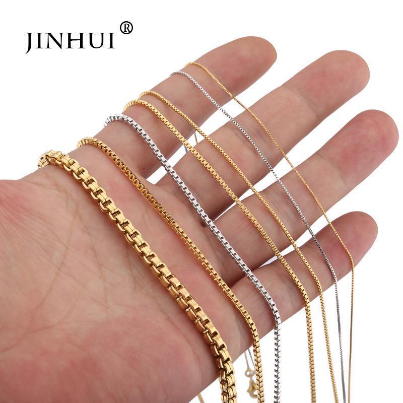 Jin Hui oro d'avanguardia Collane Piazza collegamento Coppie Catena larghezza 0,6 / 0,8 / 2,0 millimetri di lunghezza 45cm / 60 centimetri moda varietà di opzioni