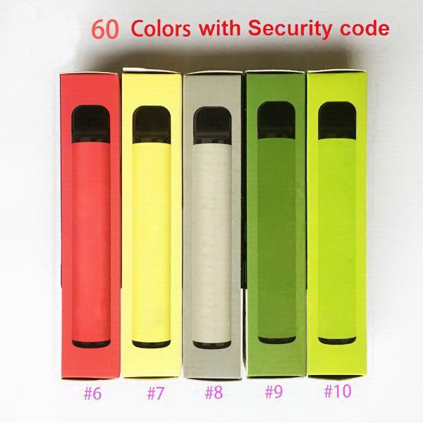 PLUS 60 colors 800+ Disposable Pod Empty Electronic Cigarette Vape Pods Stick Bar Portable Vaporizer