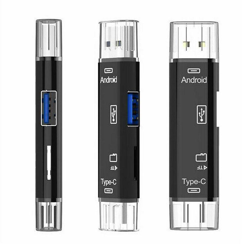 SD Micro SD (TF) USB Card Reader 3 in 1 Universal USB Type C USB- A 3.0 and Micro OTG Adapter for SD SDXC SDHC TF
