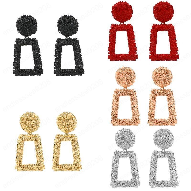 6 Farben Vintage Ohrringe Modische Persönlichkeit Baumeln Ohrstecker Einfache Geometrische Relief Blumen Ohrringe