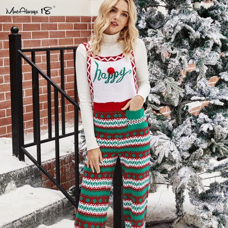 Mnealways18 рождественские зимние боди без рукавов женщин повседневная вязаная толстая панель комбинезон женская снежинка напечатана bodysuit1