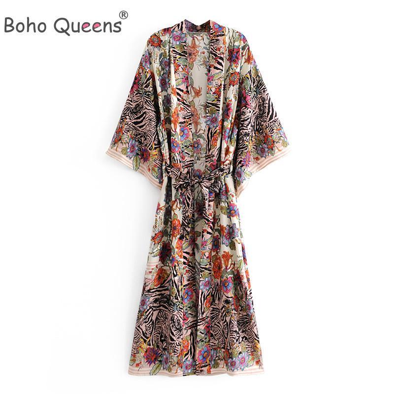 Boho Queens Multi Florals Print Bat Sleeve Strand Böhmische Kleider Kimono Robe Damen V-Ausschnitt Quaste Sommer Happie Kleid